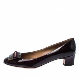 Salvatore Ferragamo Dark Purple Patent Leather Rimma Pumps Size 40 233777