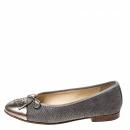 Chanel Metallic Leather And Grey Canvas CC Bow Cap Toe Ballet Flats Size 36
