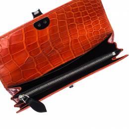 Ralph Lauren Orange Crocodile Ricky Continental Wallet 233846