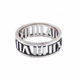 Tiffany & Co. Atlas Openwork Roman Numeral Silver Band Ring Size 53 233847