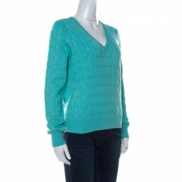 Ralph Lauren Turquoise Blue Cable Knit Sweater L 235211