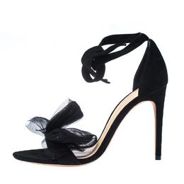 Alexandre Birman Black Suede Clarita Bow Ankle Wrap Sandals Size 38.5 233815