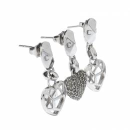 Dior Crystal Heart Silver Tone Set of Three Drop Earrings