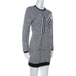 Kenzo Monochrome Molleton Chevron Sweatshirt Dress M 234768