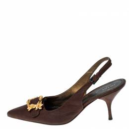 Prada Brown Leather Gold Buckle Slingback Pointed Toe Pumps Size 39 229851
