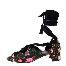 Erdem Black Floral Canvas Cut Out Lace Up Sandals Size 38 230400
