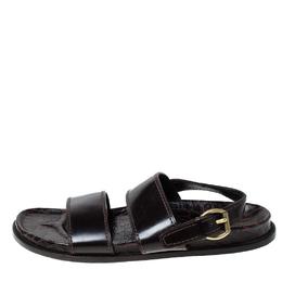 Louis Vuitton Brown Croc Leather Flat Sandals Size 43 230081