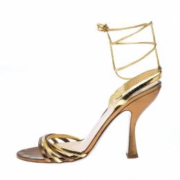 Miu Miu Metallic Gold Leather Ankle Wrap Sandals Size 38 229874