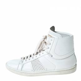 Yves Saint Laurent White Leather Lace Up Sneakers Size 38 230923