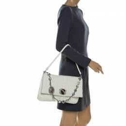 Miu Miu White Matelassé Leather Crystal Flap Shoulder Bag 230749