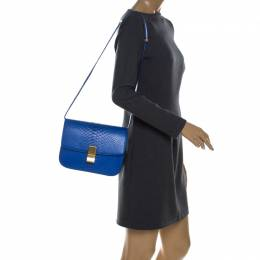 Celine Blue Python Medium Classic Box Shoulder Bag 230296