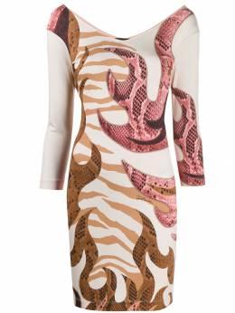Just Cavalli - платье с длинными рукавами и змеиным принтом CT6935N0953095536535