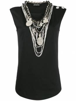 Balmain - necklace-embellished tank top 9955P609955998800000