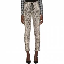 Unravel Grey Python Lace-Up Trousers UWJB002F19LEA0020810