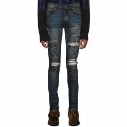 Amiri Indigo Rough Patch Jeans 192886M18602509GB