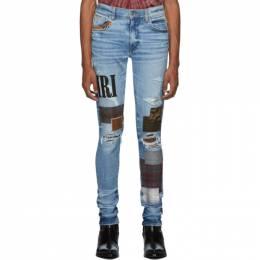 Amiri Blue Grunge Patch Medium Crafted Jeans 192886M18602805GB