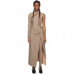 Misbhv Beige Monogram Single-Sleeve Dress 192937F05400102GB