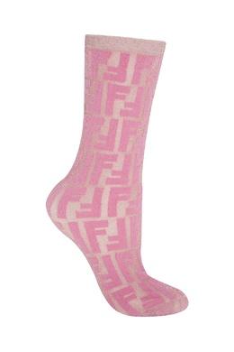 Легкие носки из розовой полупрозрачной эластичной ткани Fendi 1632158555