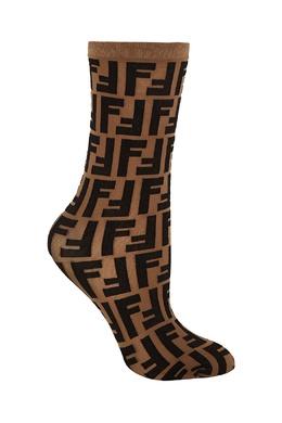 Легкие носки из полупрозрачной коричневой эластичной ткани Fendi 1632158558