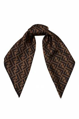 Палантин из натурального шелка в коричневых тонах Fendi 1632158557