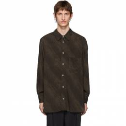 Lemaire Brown and Black Satin Shirt 192646M19200604GB