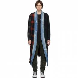Greg Lauren Blue and Red Long Mixed Plaid Kimono Coat 192933M20000205GB