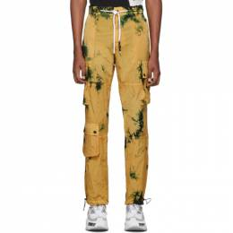 Palm Angels Yellow Tie-Dye Cargo Pants 192695M18800301GB
