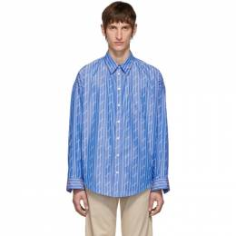 Balenciaga Blue All Over Logo Cocoon Shirt 192342M19205202GB