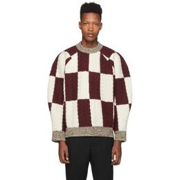 Sunnei Burgundy and Off-White Wool Oversize Sweater 192736M20100203GB