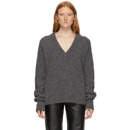 Tibi Grey Alpaca Airy V-Neck Sweater 192095F10000602GB