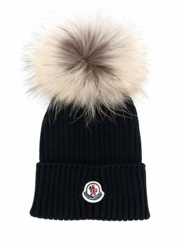 Moncler Kids - вязаная шапка с помпоном 966565S6990059905000