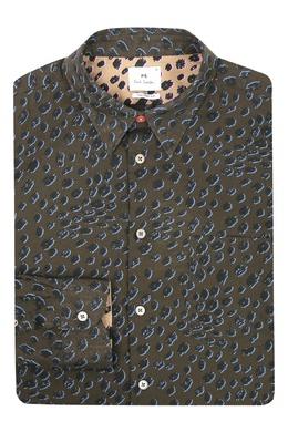 Коричневая рубашка с принтом Paul Smith 1924159188