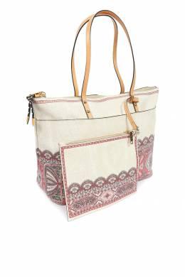 Бежевая сумка с узорами и отделкой Etro 907158751