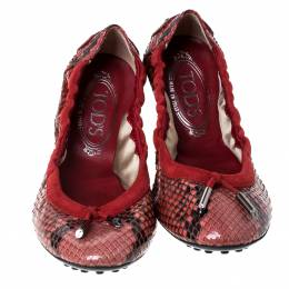 Tod's Red Python Leather Scrunch Ballet Flats Size 38 235387