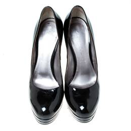 Casadei Black Patent Leather Platform Pumps Size 36 235386