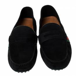 Gucci Black Suede Web Detail Slip On Loafers Size 40 235413