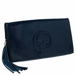 Gucci Navy Blue Patent Leather Soho Clutch 232738