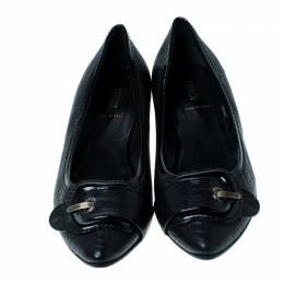 Fendi Black Leather Buckle Pointed Toe Ballet Flats Size 39 236058