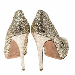 Jimmy Choo Metallic Gold Glitter Victoria Pumps Size 38.5 235800