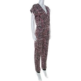 Just Cavalli Multicolor Zebra Print Fold Over Neck Jumpsuit S 232765