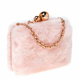 Sophia Webster Light Pink Faux Fur Vivi Bella Chain Clutch 232179