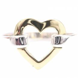 Tiffany & Co. Heart Motif Sterling Silver And 18K Yellow Gold Ring Size 49 235009