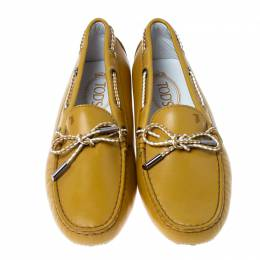 Tod's Mustard Leather Bow Gommino Loafers Size 38.5 236068