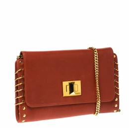 Emilio Pucci Copper Brown Leather Ring Accented Chain Shoulder Bag 232156