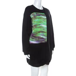 MCQ by Alexander McQueen Black Abstract Print Cotton Sweatshirt Dress L