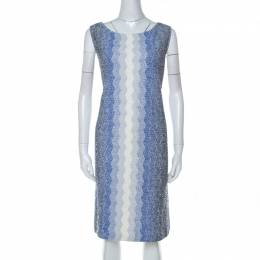 St. John Blue and White Chevron Pattern Tweed Dress and Jacket Set XL