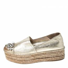 Miu Miu Metallic Gold Leather Crystal Embellished Platform Flats Espadrille Size 38 234814