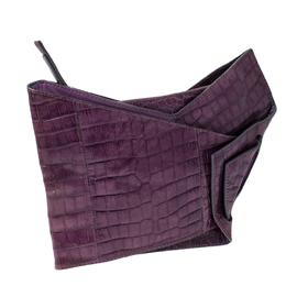 Chloe Purple Crocodile Embossed Freja Origami Clutch 232041