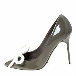 Burberry Green Patent Leather Finsbury Bow Pointed Toe Pumps Size 37 235405