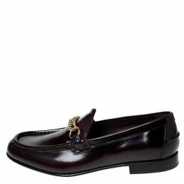 Burberry Burgundy Leather Solway Chain Detail Slip On Loafers Size 44.5 235441